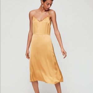 Aritzia Wilfred Midi Dress Mustard Yellow Gold S